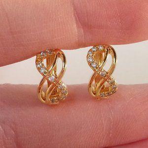 18K YGF Love Infinity Topaz Zircon Earrings 14mm